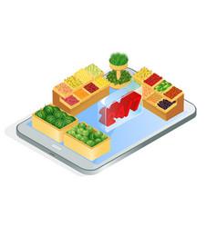 Online grocery store app isometric vector