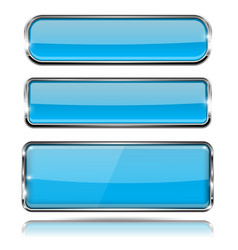 oval and rectangle blue 3d buttons with chrome vector image