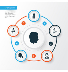People icons set collection of male ladder vector