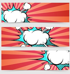 Pop art ray light style header footer collection vector image