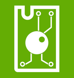 Processor chip icon green vector