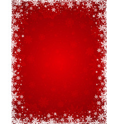 Red background with frame of snowflakes and stars vector