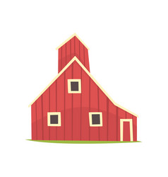 red barn house wooden agricultural building vector image
