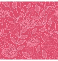 Red White Line Art flowers seamless pattern vector image