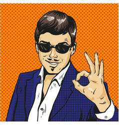 retro businessman ok gesture pop art comic vector image