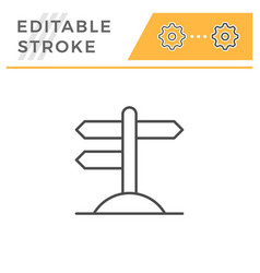 road pointer editable stroke line icon vector image