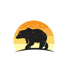 Rustic bear logo vector