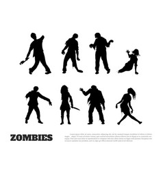 set black silhouettes zombies vector image