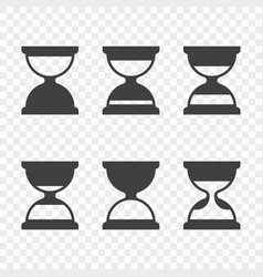 set of hourglass icons on a transparent vector image