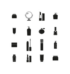 set of makeup cream bottles icons vector image