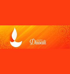 shiny orange diwali festival banner with diya vector image
