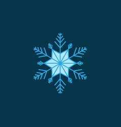 silhouette blue snowflake on blue background vector image