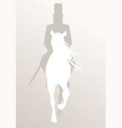 silhouette knight riding white horse sword vector image