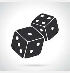 silhouette two dice vector image