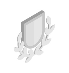 Silver shield with a laurel branch icon vector image