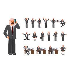 smart business arab man characters creation set vector image