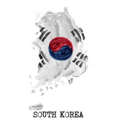 south korea flag watercolor painting design vector image