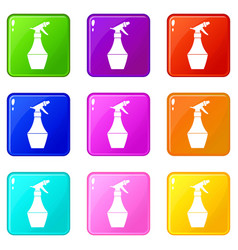Spray bottle for flower set 9 vector