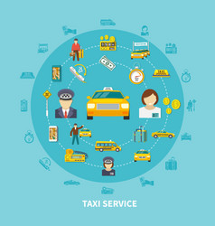 Taxi icons round composition vector