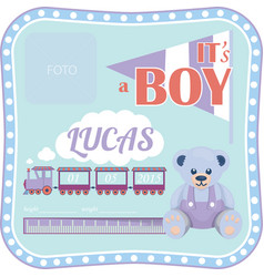 template for a newborn boy vector image