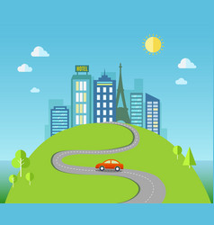 Travel with urban landscape vector