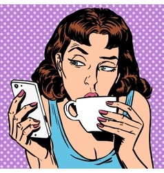 Tuesday girl looks at smartphone drinking tea or vector