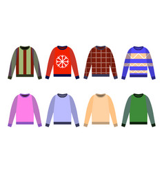 Ugly sweaters set icon yellow red blue jumper vector