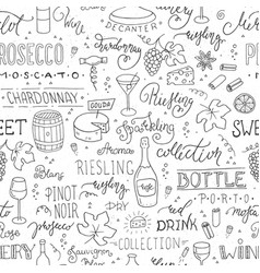 wine seamless pattern with hand-drawn vector image