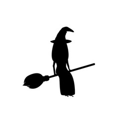 witch with a cat on a broomstick for halloween vector image