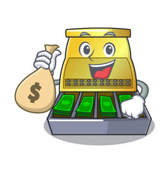 With money bag electronic cash register isolated vector