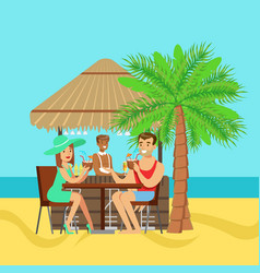 Young couple sitting at the cafe near the beach vector