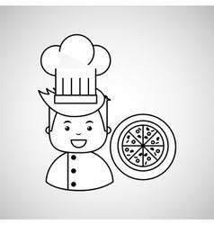 cartoon chef gourmet pizza italian vector image