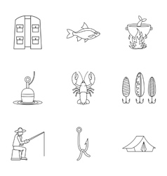 Fishing sport icons set outline style vector