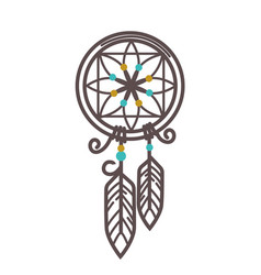 handmade wicker dreamcatcher with feathers and vector image vector image