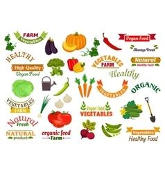 Vegetables vegetarian emblems ribbons set vector image vector image