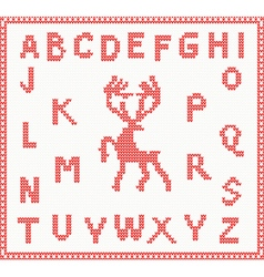 Christmas Knitted Font with Deer vector image