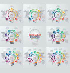 set of idea light bulb infographic templates vector image