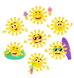Set of sun characters with ice cream drink vector image