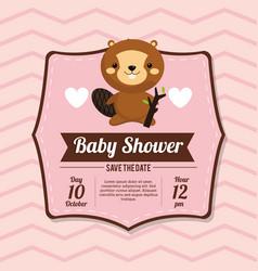 baby shower card invitation beauty beaver vector image vector image