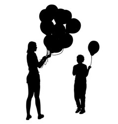 black silhouettes of woman gives child a balloon vector image