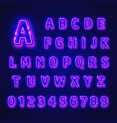 Fluorescent neon font on dark background vector