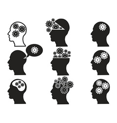 head with gears icon set vector image vector image