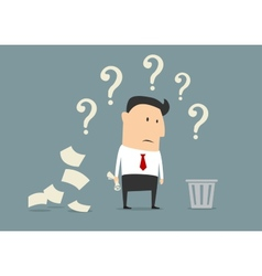 Perplexed confused businessman vector image vector image