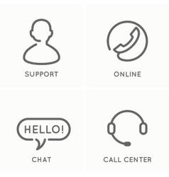 The set of line icons for the service and support vector image