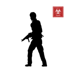 black silhouette of man with rifle vector image