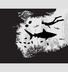 Diver in coral reef vector image vector image
