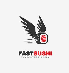 fast sushi logo vector image vector image
