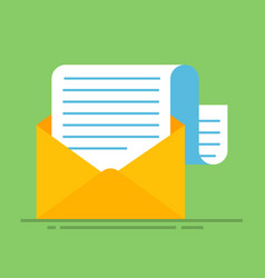 new email message flat carton envelope with open vector image