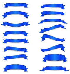 Set of the blue ribbons with golden straights vector image vector image