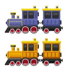 Simple Style Color Toy Trains and Wagons Set vector image